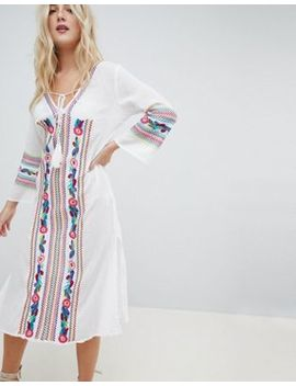 Liqourish Heavy Embroidered Beach Dress by Liquorish
