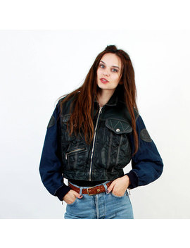 Crop Navy Jacket / 80s Jacket / Bomber Jacket / Zipper Jacket / Casual Wear / Cropped Jacket / Windbreaker / Bomber Jacket / Size M Medium by Etsy