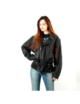 Biker Jacket / 80s Biker Jacket / Vintage Motorcycle Jacket / Womens Biker Jacket / Moto Jacket / Leather Jacket / Large Jacket by Etsy