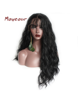 Loose Wave Synthetic Hair Wigs With Baby Hair Natural Long Wave Lace Front Wigs For Black Women Heat Resistant by Maycaur