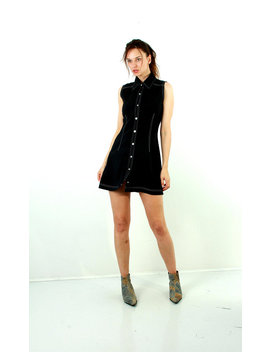 90s Button Up Dress / Pinafore Dress / Shirt Dress / Grunge Dress / Front Buttons Dress / Work Dress / Black Mini Dress / Size M by Etsy