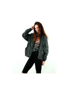 Vintage 80s Leather Bomber Jacket / Real Leather Jacket / Zipper / Oversize Jacket / Black / Grunge Jacket / Casual / Street Style / Size L by Etsy