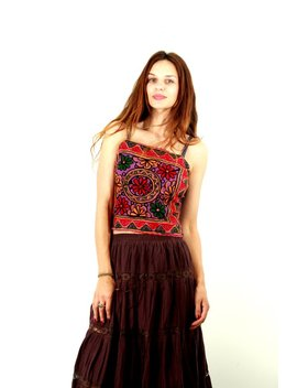 Vintage Indian Top / Boho Crop Top / Boho Bra / Festival Wear / Beaded Top / Embroidered Top / Huipil Top / Tube Top /  Size S / M by Etsy