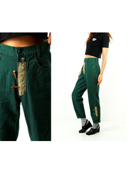 Vintage High Waist Jeans / Folk Jeans / Trachten / Embroidered Jeans / Austria Fuchs Fashion / Green / High Rise Jeans / Hipster / Size  L by Etsy
