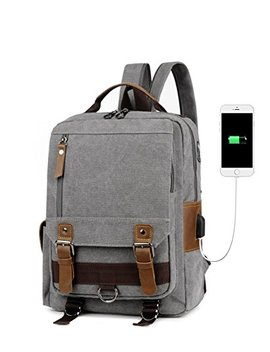 Men's Sling Canvas Backpack Dual Use Vintage Leather Travel Bag With Usb Charge And Headphone Sdiyabolo by Sdiyabolo