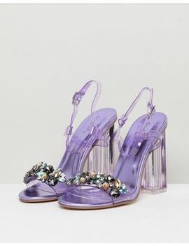 Qupid Embellished Clear Heeled Sandals by Shoes