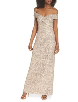Off The Shoulder Sequin & Lace Gown by Vince Camuto