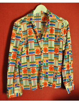 Vintage 70 Blouse Multicolor Graphic Patterened Flower Power Button Up Womens Blouse Xs S by Etsy