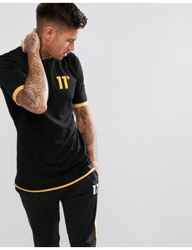 11 Degrees Muscle Layered T Shirt In Black by 11 Degrees