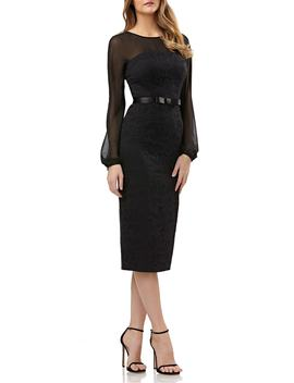 Chiffon & Lace Sheath Dress by Kay Unger