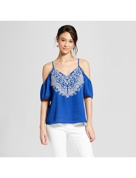 Women's Short Sleeve Cold Shoulder Top   Xhilaration™ Blue by Xhilaration™