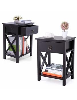 Lazymoon Set Of 2 Wood Nightstand Table X Design Sofa End Side Table Storage Shelf W/ 1 Drawer, Black Finish by Lazymoon