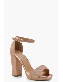 Glitter Peeptoe Platform Heels by Boohoo