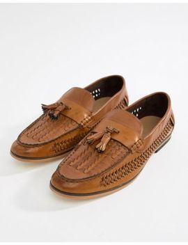 Boohoo Man Faux Leather Weave Loafers In Tan by Boohoo Man