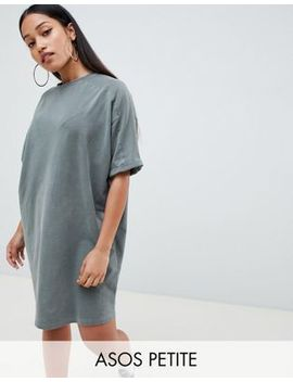 Asos Design Petite T Shirt Dress With Rolled Sleeves And Wash by Asos Design