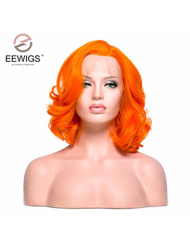 Eewigs Short Bob Wig Orange Color Synthetic Wigs Lady's Lace Front Wig For White Women Light Cap Color For Darg Queen Wig by Eewigs