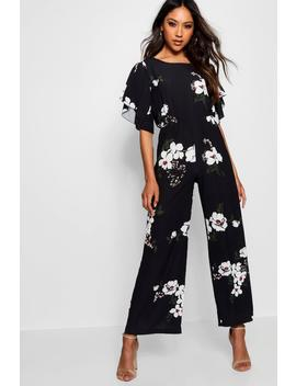 Floral Angel Sleeve Jumpsuit by Boohoo