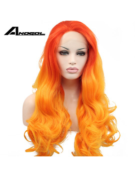 Anogol High Temperature Fiber Perruque Peruca Long Body Wave Wigs Red Ombre Orange Synthetic Lace Front Wig For Women Costume by Anogol