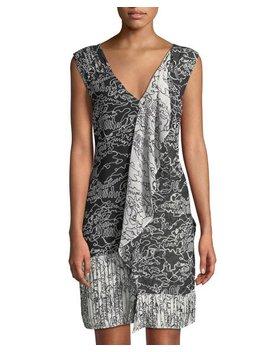 Sleeveless Printed V Neck Cascade Dress by Derek Lam 10 Crosby