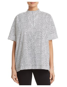 Printed Stand Collar Shirt by Donna Karan New York