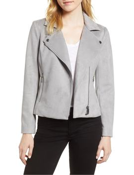 Suede Scuba Moto Jacket by Vince Camuto