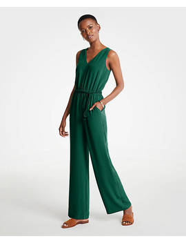 Petite Rope Belt V Neck Jumpsuit by Ann Taylor