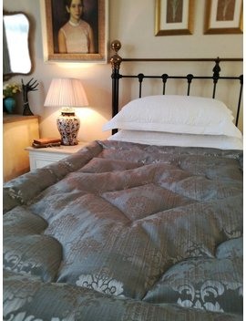 Eiderdown Damask Silver Grey Single Double Kingsize Quilt Comforter by Etsy