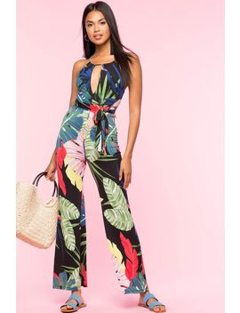 Bold Tropic Keyhole Jumpsuit by A'gaci