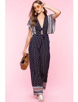 Chloe Tie Front Kimono Jumpsuit by A'gaci
