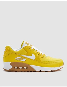W Nike Air Max 90 Premium Shoe In Tour Yellow/White/Light Brown by Nike