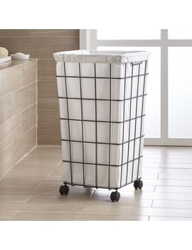 Black Wire Hamper With Wheels And Liner by Crate&Barrel