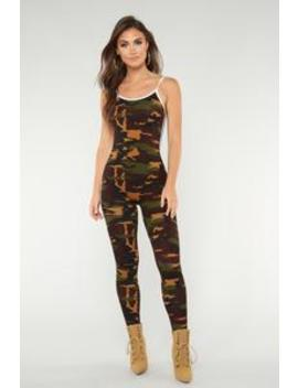 Camo Baby Lounge Jumpsuit   Olive by Fashion Nova
