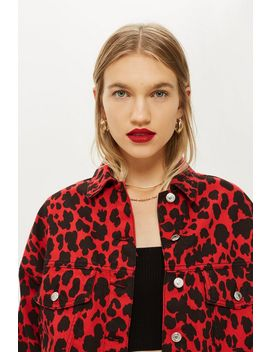 Red Leopard Denim Jacket by Topshop