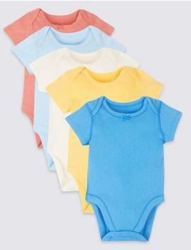 5 Pack Patterned Pure Cotton Bodysuits by Standard Delivery: