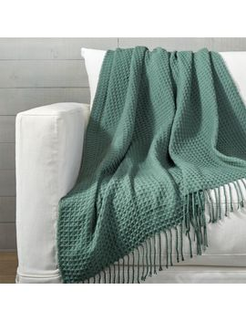 Cecili Teal Waffle Weave Throw by Crate&Barrel