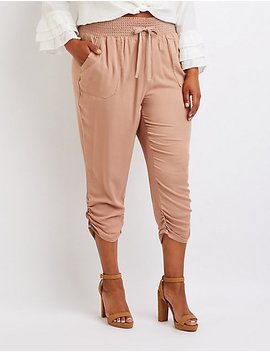 Plus Size Smocked Beach Pants by Charlotte Russe