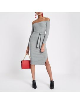 Grey Ribbed Bardot Jersey Bodycon Dress by River Island