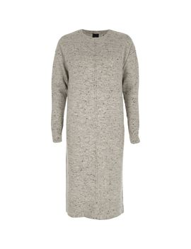 Grey Neppy Long Sleeve Knitted Midi Dress by River Island