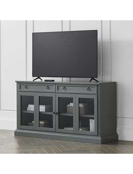 "Cameo 62"" Bruno Black Modular Media Console With Glass Doors by Crate&Barrel"