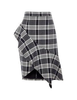 Navy Check Asymmetric Frill Pencil Skirt by River Island
