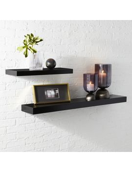 Calvin Matte Black Floating Shelves by Crate&Barrel