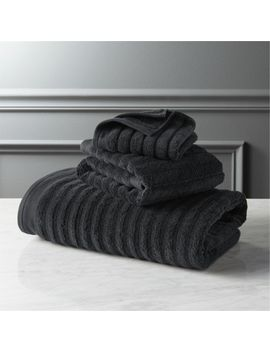 Channel Black Bath Towels by Crate&Barrel