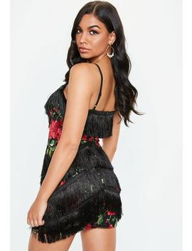 Black Embroidered Mesh Tassel Mini Dress by Missguided