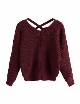 Romwe Women's Criss Cross Crew Neck Solid Long Sleeve Knit Pullover Sweaters by Romwe
