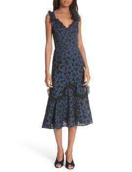 Adriana Eyelet Midi Dress by Rebecca Taylor