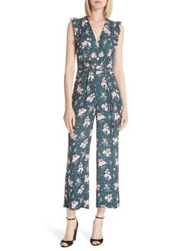 Emilia Floral Sleeveless Silk Jumpsuit by Rebecca Taylor