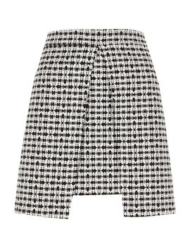 White And Black Check Split Front Mini Skirt by River Island