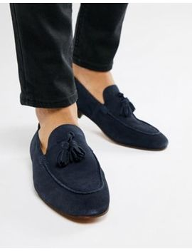 H By Hudson Bolton Tassel Loafers In Navy Suede by Hudson London