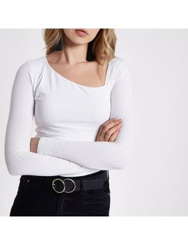 White Ribbed Asymmetric Neck Long Sleeve Top by River Island