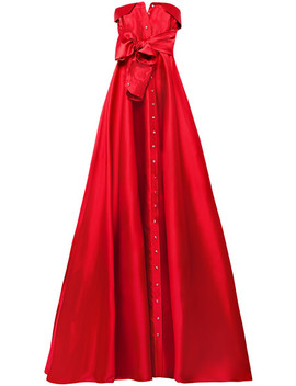Bow Detailed Satin Twill Gown by Alexis Mabille